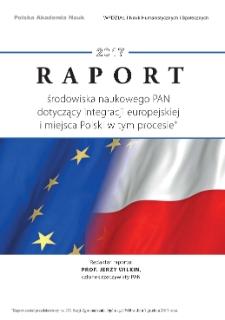 Raport środowiska naukowego PAN dotyczący integracji europejskiej i miejsca Polski w tym procesie