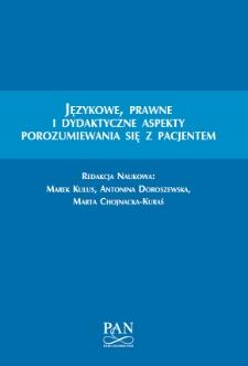 Językowe, prawne i dydaktyczne aspekty porozumiewania się z pacjentem