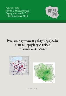 Przestrzenny wymiar polityki spójności Unii Europejskiej w Polsce w latach 2021-2027